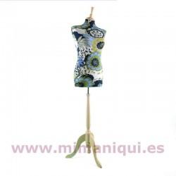 Busto de senhora padrão azul-verde