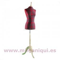 Busto senhora padrão escocesa