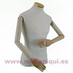 Busto de caballero con brazos articulados.