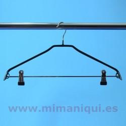 Colgador de metal con revestimento de PVC con pinzas